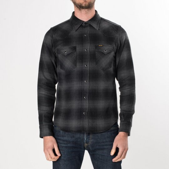 Grey/Black Ultra Heavy Flannel Ombré Check Western