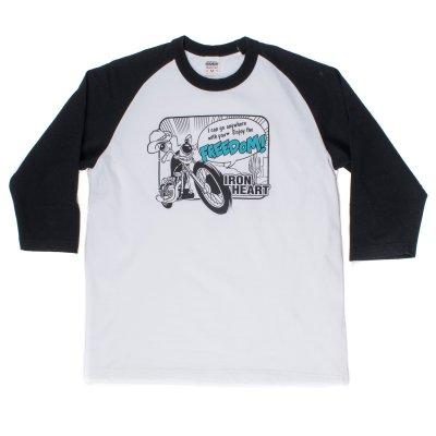 """Crazy Bike"" Printed Loopwheel Baseball Shirt"